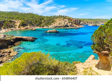 Amazing view of Cala Xarraca bay with azure sea water on northern coast of Ibiza island, Spain