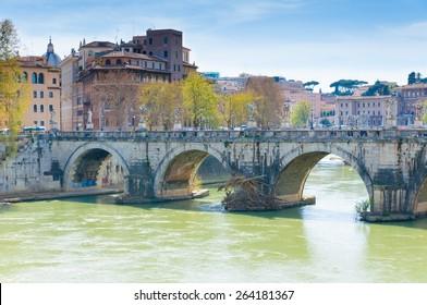 Amazing view from Castle Saint Angelo to bridge of Hadrian, Rome, Italy.