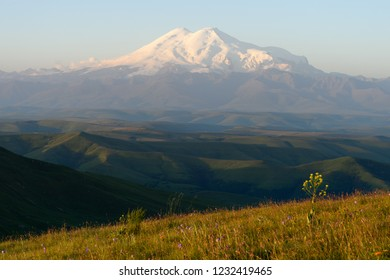 Amazing view of caucasian snow mountain or volcano Elbrus from Burmanet or Bermamyt plateau with green flower fields, blue sky background. Elbrus landscape view - the highest peak of Russia and Europe