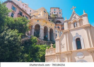 Amazing view of Sainte-Dévote Church of Monaco in Monte Carlo