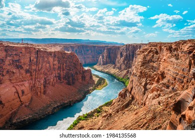 Amazing view of the Colorado River from under the red rocks in Page, Arizona