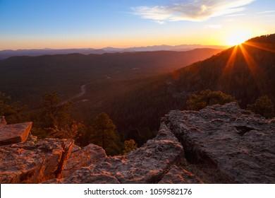 Amazing view of colorful sunset. Selectively focused nature landscape scene. Mogollon Rim, Payson, Arizona