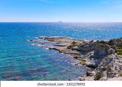 Amazing view from Delikli Koy, Cesme, Izmir, Turkey. Delikli Koy is one of the amazing secret cove at Aegean Sea.