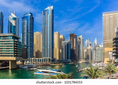 Amazing view of Dubai Marina and Marina Lake, Residential and Business Skyscrapers, Dubai, United Arab Emirates