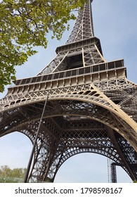 Amazing view of Eiffel Tower seen from below and very close