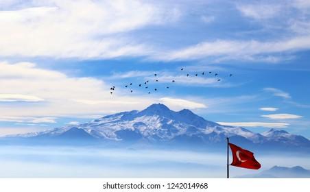 Amazing view of Erciyes Mountain, Kayseri, Turkey.