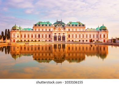 Amazing  view of famous Schloss Belvedere, built by Johann Lukas von Hildebrandt as a summer residence for Prince Eugene of Savoy, Vienna, Austria