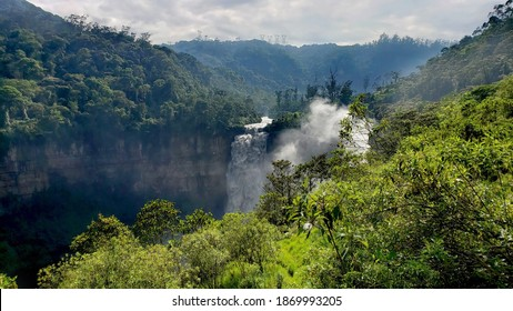 Amazing view of the famous waterfall Salto del Tequendama, near the city of Bogota in Colombia, where you can find a haunted house between the green mountains