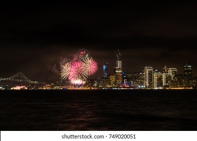 Amazing view of fireworks over San Francisco city