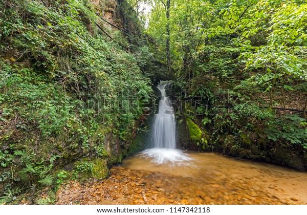 Amazing view of First Gabrovo waterfall in Belasica Mountain, Novo Selo, Republic of Macedonia