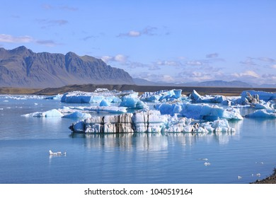 Amazing view of floating icebergs in the glacial lake Jokulsarlon at sunny day in Iceland