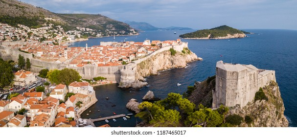 Amazing view of Fortress Lovrijenac in the foreground and Dubrovnic Old Town in the background. From the Sky.