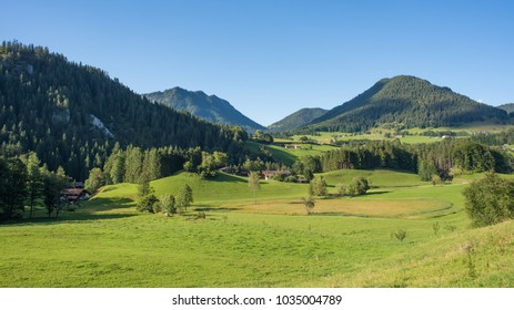 Amazing view of the green grass slopes of farmland in the mountains of the bavarian Alps , Germany