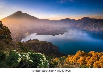 Amazing view of Gunung Rinjani Mountain, Lombok Indonesia. Soft focus due to long exposure.
