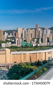 The amazing view of Hong-Kong cityscape full of skyscrapers from the rooftop. - Shutterstock ID 1750450079