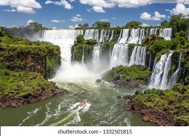 Amazing view of Iguazu Falls, one of the new seven wonders of the world, on the border with Brazil and Argentina.