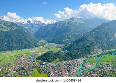 Amazing view of Interlaken and adjacent mountains photographed from the top of Harder Kulm, Switzerland. Swiss Alps. Beautiful landscapes. Amazing landscape. Jungfrau, river