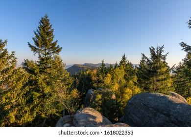 Amazing view into the landscape with rocks, Hvezda, Broumovske steny, Adrspach rocks, Czech republic  - Shutterstock ID 1618022353