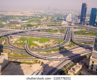 Amazing view of the junction roads from above in Dubai. Traffic on the highway. Background wallpaper photo