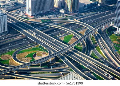 Amazing view of the junction roads from above. Traffic on the highway. Background wallpaper photo.