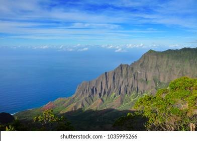 Amazing view of the Kalalau Valley and the Na Pali coast in Kauai, Hawaii