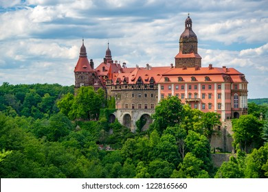 Amazing view of Ksiaz Castle near Walbzych at summer day. Ksiaz Castle is third the biggest castle in Poland and popular tourist attraction