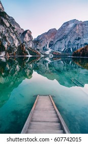 Amazing view of Lago di Braies (Pragser Wildsee), most beautiful lake in South Tirol, Dolomites mountains, Italy. Popular tourist attraction. Beautiful Europe.