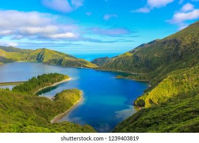 Amazing View to Lagoa do Fogo, Sao Miguel Island in Azores, Portugal