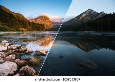 Amazing view of lake Obersee at twilight. Location place Nafels, Mt. Brunnelistock, Swiss alps, Europe. Beauty of earth. Images before and after. Original or retouch, example of photo editing process.