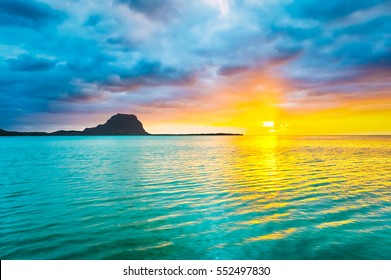 Amazing view of Le Morne Brabant at sunset. Mauritius island.