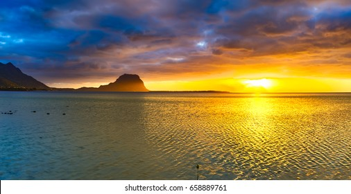 Amazing view of Le Morne Brabant at sunset. Mauritius island. Panorama