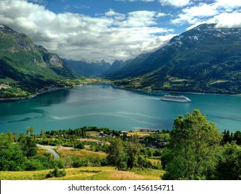 Amazing view of Loen fjord and valley from Hoven, Norway.