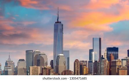 Amazing view of Lower Manhattan skyline from Hudson river - New York City.