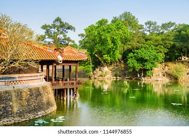 Amazing view of Luu Khiem Lake on summer sunny day at the Tu Duc Royal Tomb in Hue, Vietnam. Hue is a popular tourist destination of Asia.