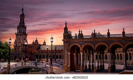 amazing view and magical sky and clouds from plaza de espana in seville , spain