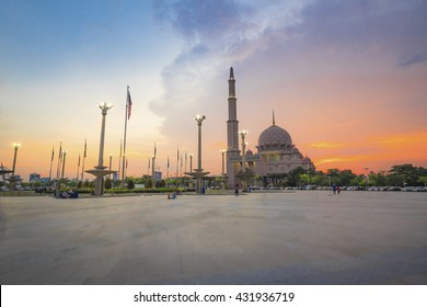 Amazing view of Masjid Putra Putrajaya during sunset hour with colourful colour background in Malaysia