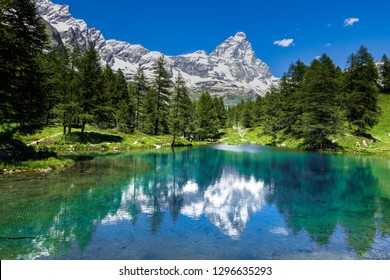 Amazing view of the Matterhorn (Cervino) reflected on the Blue Lake (Lago Blu) near Breuil-Cervinia, Aosta Valley, Italy