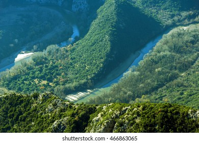 Amazing view to Meander of  Nestos River near town of Xanthi, East Macedonia and Thrace, Greece - Shutterstock ID 466863065