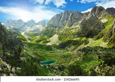 Amazing view of mountain lakes in Albanian Alps.