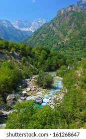 Amazing view of mountain river in Albanian Alps.