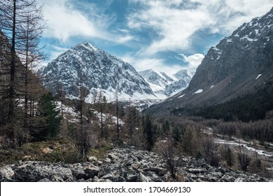Amazing view of mountains. Snowing peak