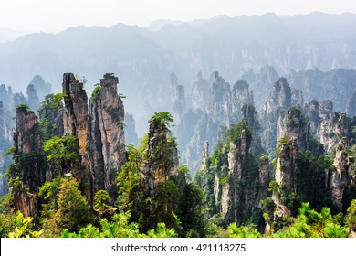 Amazing view of natural quartz sandstone pillars of the Tianzi Mountains (Avatar Mountains) in the Zhangjiajie National Forest Park, Hunan Province, China. Beautiful summer landscape with rock columns