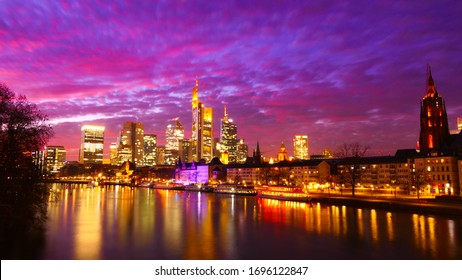 A amazing view at night over the City of Frankfurt at Main, across the Main river to the Skyline in Germany