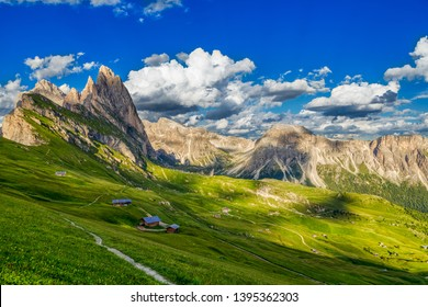 Amazing view of Odle mountain range in Seceda, Dolomites, Italy