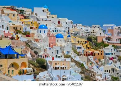 Amazing view of Oia village in Santorini, Greece.