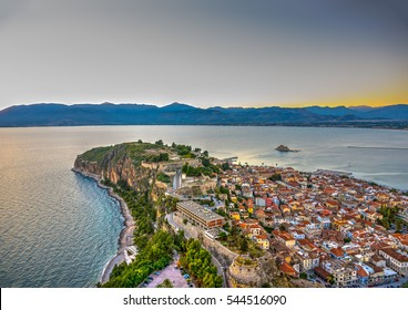 """amazing view from the old fortress """"bourtzi"""" of Nafplio town in Greece"""