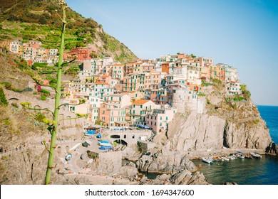 Amazing view of old village Manarola listed UNESCO, Cinque Terre, Liguria, Italy