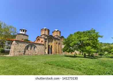 Amazing view on the ancient monastery and church complex Lesnovo, Macedonia. XIV century