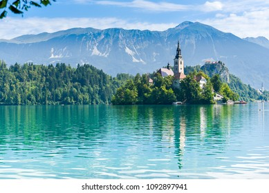 Amazing View On Bled Lake And Castle With Mountain in backround,Slovenia,Europe