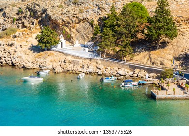 amazing view on coast in Lindos in Rhodes island, Greece